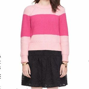NWT Kate Spade Striped Pastry Pink Wool Sweater S