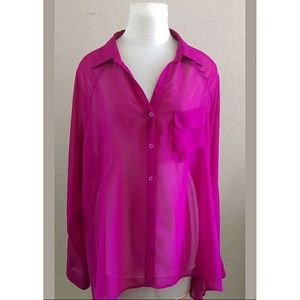 Torrid magenta sheer button down blouse long