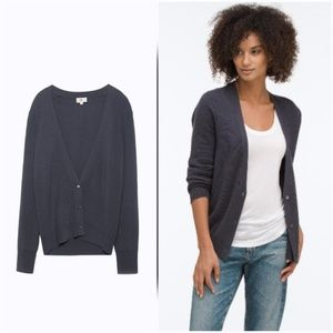 AG Cashmere Fin Cardigan Sweater Deep Shadow Gray