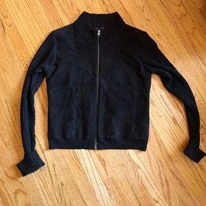 Anthropologie black knit/ suede motorcycle jacket