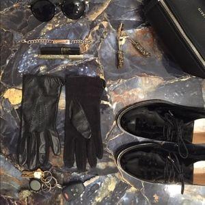 Ralph Lauren Black Faux Leather Gloves