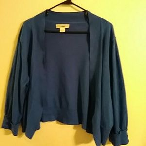 Blue 3/4 sleeve cropped open cardigan 2x