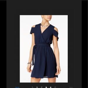 Navy blue cold shoulder wrap dress