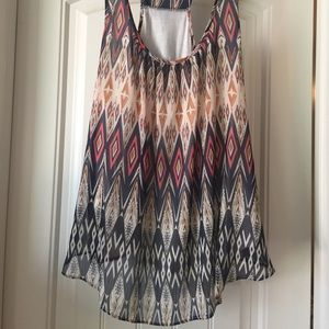 Lovely chevron multi color chiffon overlay tank
