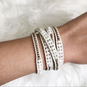 Chan Luu White Mother of Pearl Wrap Bracelet