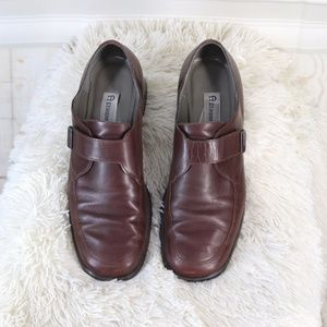 Etienne Aigner • Brown Leather Buckle Loafers