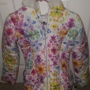 This is a floral pattern girls winter coat