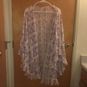 Free People white and purple kimono