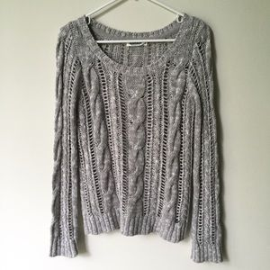 Garage Gray & White Cable Knit Sweater Size M