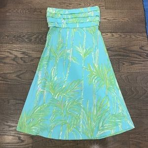 Lilly Pulitzer strapless palm dress