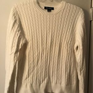 Denim & Co white cable knit sweater