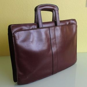 Men's Leather Briefcase Portfolio Bag Burgundy
