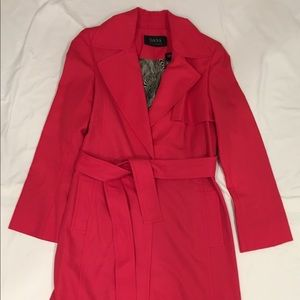 Pink Dana Buchman Long-midi length trench coat.