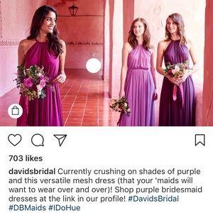 0c943c86db David s Bridal Dresses - Soft Mesh halter bridesmaid dress with slim sash