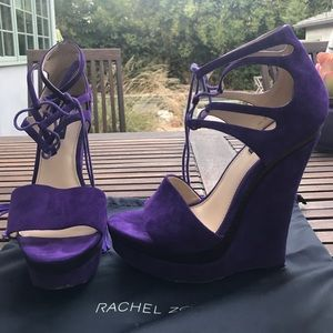 Purple Rachel Zoe Suede Wedges Sz: 9