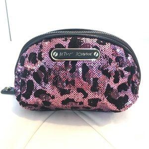 Betsey Johnson Sequin Leopard Make Up Bag