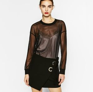 ZARA New Contrasting Double Sweatshirt