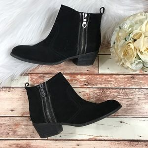 Guess black suede double sided zipper booties