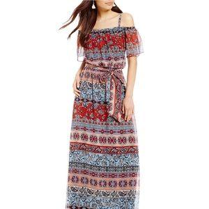 💫NWT💫Leslie Fay Cold-Shoulder Printed Maxi Dress