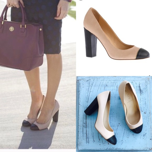 J. Crew Shoes - J. Crew Etta Pump Nude Black Cap Toe Pump