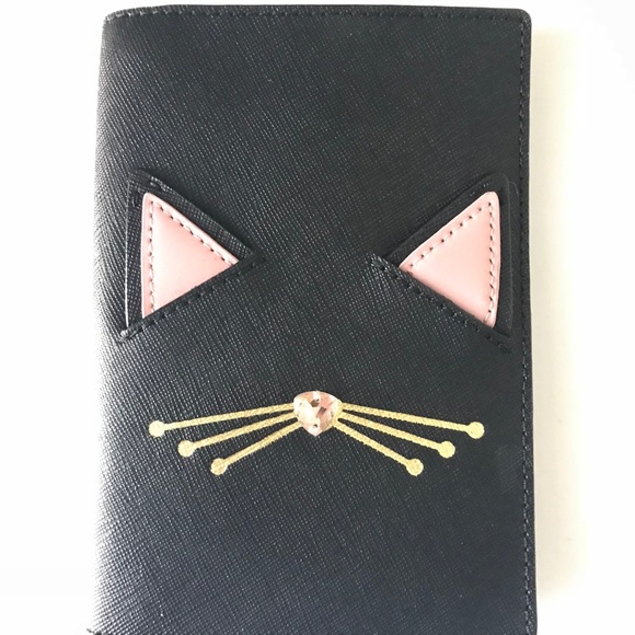 151d93ee5175 Kate Spade Cat Leather Passport Holder NWT