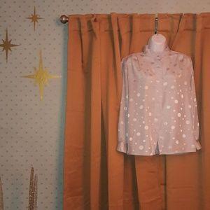 🍁Trend! Vintage 80's Silver dot blouse! Pretty!