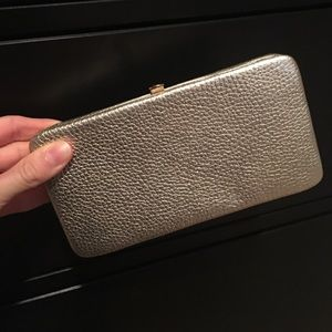 Ann Taylor Loft clutch in Gold leather