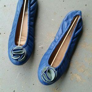 Kelsi Dagger Key West Blue Leather Slip On Flats