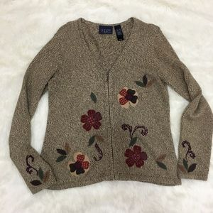 Sweaters - Crazy Horse zipped tan sweater with floral design