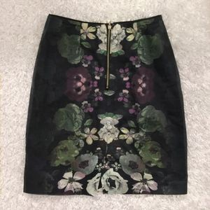 H&M Navy Floral Pencil Skirt