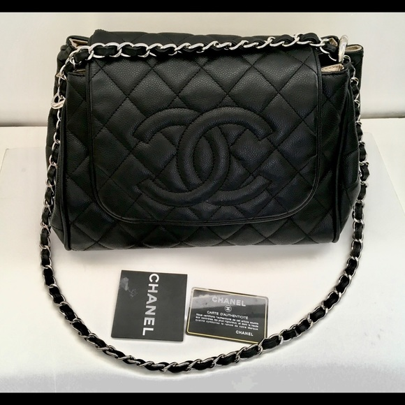 CHANEL Handbags - Chanel Black C s Quilted Flap Accordion Tote Bag eff0b0d6fe65d