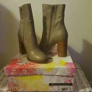 """NWT """"Chinese Laundry"""" Leather Boots Taupe/Brown"""