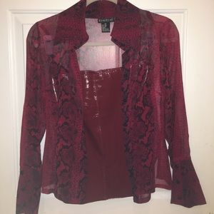 Bebe red leather mini skirt & red silk blouse