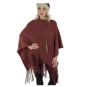 Rusted Burgundy Twisted Tassel Wrap Sweater -- O/S