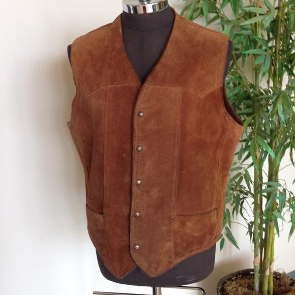 ad8c5daddf2 Vintage 70s Heavy Duty Suede Leather Western Vest.  M 59e2bc6beaf0302f8b0441e1