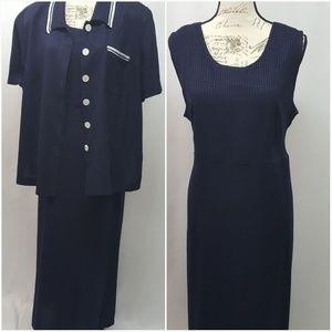 Vintage Plus Size 2 Piece Dress & Jacket 20W