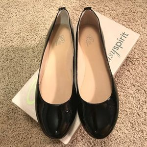 Easy Spirit e360 Black Patent Ballet Flats 8.5