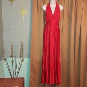 🍁Trend! 80's Zum Zum red satin formal dress!