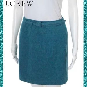 J CREW Chic Teal Wool Belted Straight/A-Line Skirt
