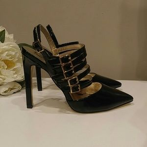 "NWOT LUICHINY ""TELLING YOU"" BLACK PATENT HEELS 8"