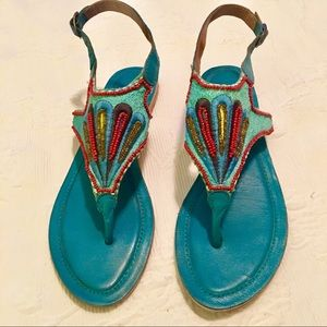 Charles David Turquoise Leather Beaded  Sandals