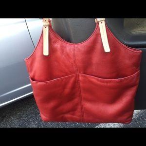 Michael Kors Red Leather Hobo Shoulder Bag