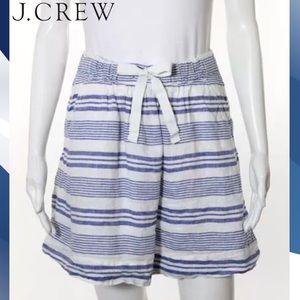J CREW Perfect Blue/Wht Stripe Linen Circle Skirt