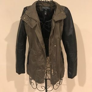 H&M Green Jacket with Leather Sleeves
