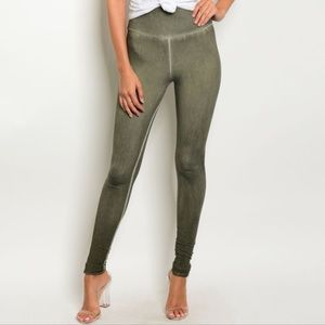 Distressed Olive Green Woman's Leggings Small Med