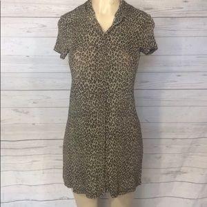 Betsey Johnson leopard Button Down dress Sz M