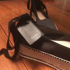 011352043413 Zara Shoes - NWT. Zara Black Satin Platform Espadrilles. Size 9