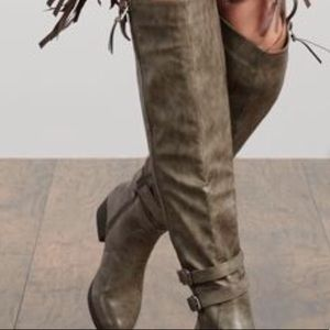 Just Fab Heeled Anvy Wide Calf Boots