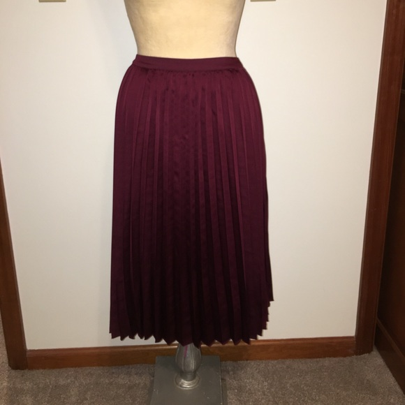 1f64582e6f96c3 Worthington Skirts | Bnwt Satin Like Burgundy Pleated Skirt | Poshmark