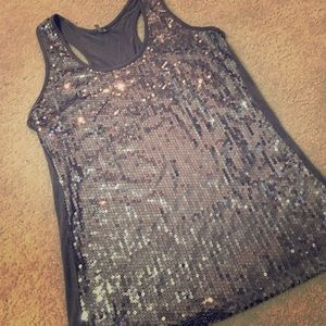 Silver sequence sparkly bling racerback tank top